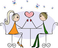 Lovers in a cafe Royalty Free Stock Photos