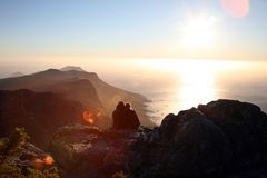 Lovers in cape point Royalty Free Stock Images