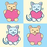 Lovers cartoon cats set Stock Images
