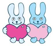 Lovers cartoon  rabbits Stock Photo