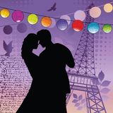 Lovers  with Chinese lanterns  Royalty Free Stock Photo