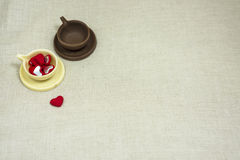 Lovers. Chocolate bowl full of love for the sweet life in the family Stock Photo