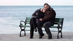 Lovers at coast stock footage