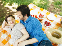 Lovers coupe outdoor having a picnic Stock Photography