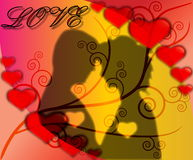 Lovers couple background. Stylish love background theme with a couple's shape Stock Illustration