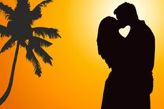 Lovers couple at background. With heart shape royalty free illustration