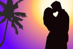 Lovers couple at background. With heart shape stock illustration