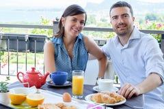 Lovers couple having breakfast Royalty Free Stock Photos