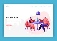 Lovers Couple or Pair Friend Sit at Table Drink Coffee have Discussion Landing Page. Smiling Man Woman Friendly Meeting. Lovers Couple or Pair Friend Sit at royalty free illustration