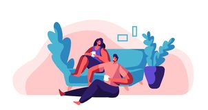 Lovers Couple Relax at Weekend. Man and Woman Sit on Comfort Sofa. Happy Pair Drink Tea or Coffee. Character Hold Cup. People Day Off Leisure Lifestyle Flat stock illustration