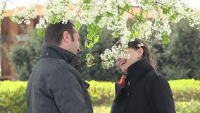 Lovers couple romantic date under a blossom tree, man arrange a flower in woman hair, happy smiling faces, playful times. UHD 4K stock video