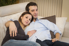 Lovers couple sofa Stock Images