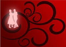 Lovers Dancing. A pair of lovers dancing as glowing silhouettes against a red and black flourish background Royalty Free Stock Images