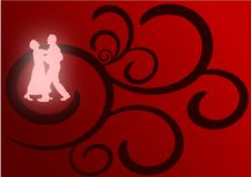 Lovers Dancing. A pair of lovers dancing as glowing silhouettes against a red and black flourish background Royalty Free Stock Photography