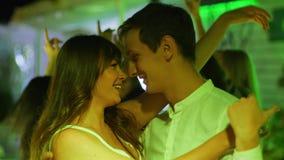 Lovers dancing beautiful couple dance a slow dance in center dance floor stock footage