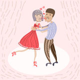 Lovers dancing in valentine`s day Stock Photography
