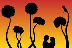 Lovers and dandelions at sunset. Vector illustration with silhouette of loving couple under evening sky. Bright gradient background stock illustration