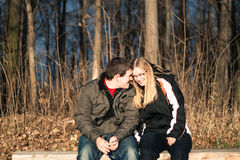 Lovers dating outdoors Stock Image