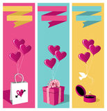 Lovers day banner set. Happy lovers day greeting card background sale set. Vector file available royalty free illustration