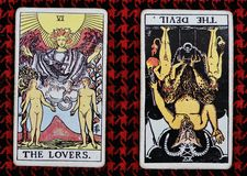 The Lovers & The Devil tarot card. Gypsy predict love relationship good bad augur seer Royalty Free Stock Photo