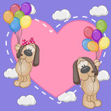 Lovers Dogs. Valentine card with Lovers Dogs flying on balloons Royalty Free Stock Photography