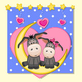 Lovers Donkeys. Valentine card with Lovers Donkeys on the moon Royalty Free Stock Photography