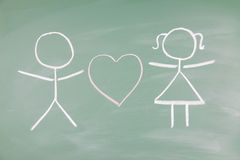 Lovers. Drawn on a blackboard Royalty Free Stock Images