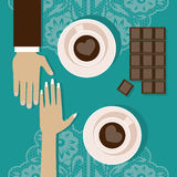 Lovers drink coffee. Vector illustration. Illustration of a romantic meeting in a coffee house stock illustration