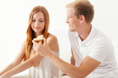 Lovers eating breakfast Stock Photos