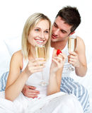 Lovers eating and drinking Royalty Free Stock Photo