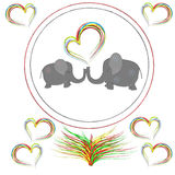 Lovers elephants with hearts in the  frame Stock Photography