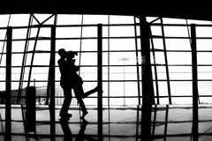 Lovers embrace. In the airport royalty free stock photography