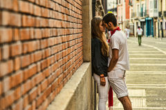 Lovers embracing in Pamplona Spain Stock Images