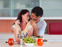 Lovers enjoying their lunch Royalty Free Stock Image