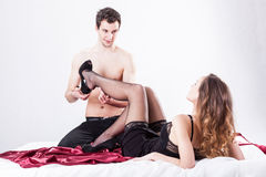 Lovers in erotic situation Stock Image