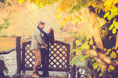 Lovers in fall Stock Photo
