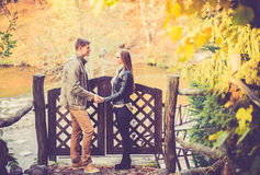 Lovers in fall Stock Images