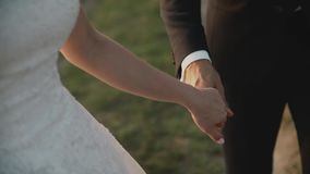 Lovers in a field at sunset.Girl and guy holding hands .Happy couple smiling. Lovers in a field at sunset.Girl and guy holding hands.Happy couple smiling.Couple stock video footage