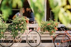 Free Lovers Find Place For Secret Dates. Blonde Woman And Bearded Man Happy To See Each Other. Stock Image - 123740951