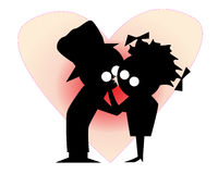 Lovers First Kiss. Silhouette of a cartoon character kissing his girlfriend Stock Photo