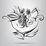 Lovers on a flower. vector illustration. Lovers on a flower on a gray background Royalty Free Stock Photos