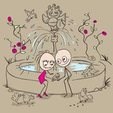 Lovers at the fountain fed birds. Vector cartoon illustration Royalty Free Stock Photography