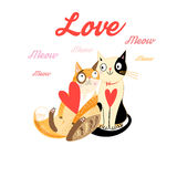 Lovers funny cats. With hearts on a white background Stock Photo