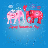 Lovers funny elephants Stock Images