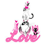 Lovers funny graphics cats Royalty Free Stock Images