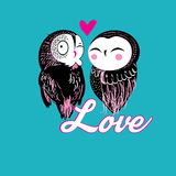 Lovers funny owl. On a bright color background stock illustration