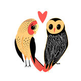 Lovers funny owl Stock Photo