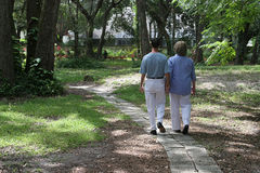 Lovers On Garden Path stock images