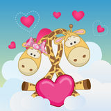 Lovers Giraffes. Valentine card with Lovers Giraffes Stock Image