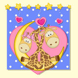 Lovers Giraffes. Valentine card with Lovers Giraffes on the moon Stock Images
